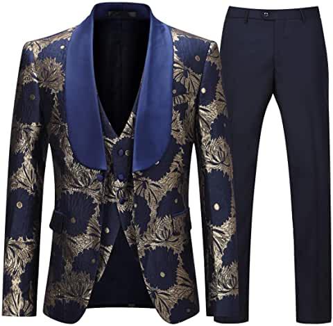Blue Floral Slim Suit