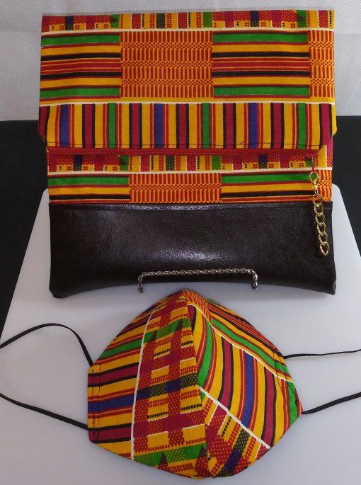Clutch Bag Mask African Kente Cloth