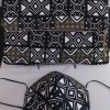 Clutch Bag Mask African Print Black Tan White