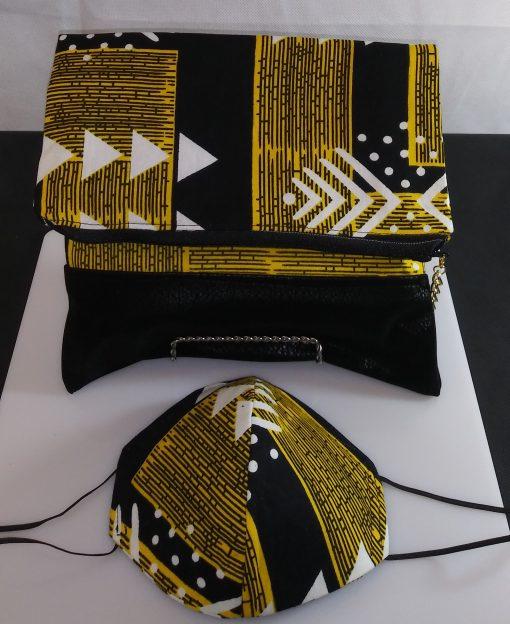 Clutch Bag Mask African Print Gold Black