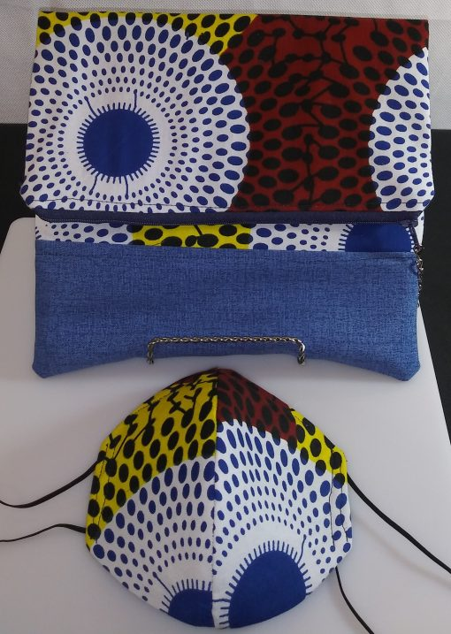 Clutch Bag Mask African Print Light Jean