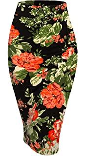 Elastic Flower Print Pencil Skirt