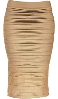 Gold Elastic Tube Pencil Skirt