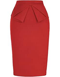 Red Ruffled Pencil Skirt
